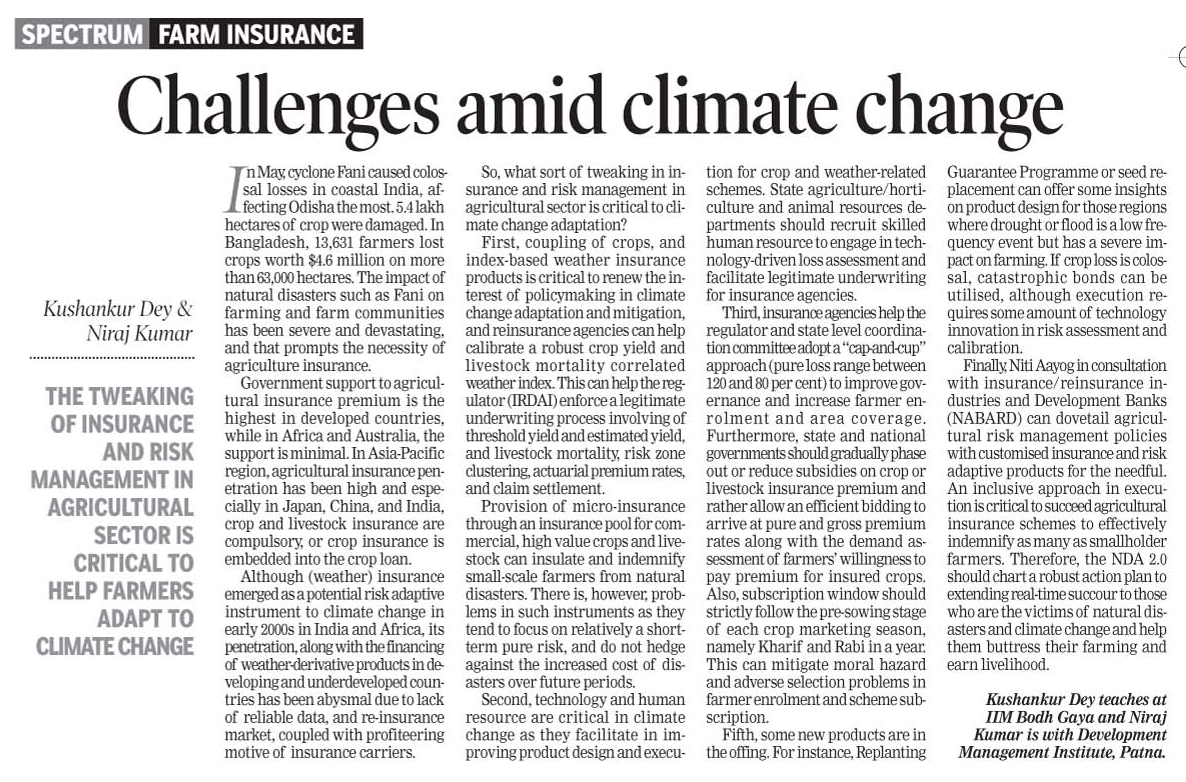 Article on Challenges amid Climate Change, Odisaport, by Prof Niraj kumar,DMI